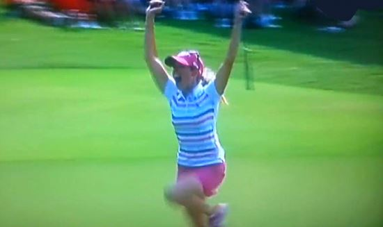 Paula Creamer 75ft putt to win 2014 HSBC Champions
